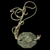 Second World War issue identity disc, stamped up to and as worn by a serviceman in the British Ar...