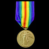 Victory Medal awarded to Private  T. Stockham, 15th Battalion, Essex Regiment, Territorial Force,...