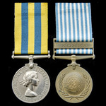 A Korea Medal pair awarded to Private A.G. Ormrod, King's Regiment, who saw service in Korea duri...
