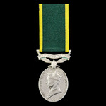 Efficiency Medal, GVI 2nd type bust, Territorial suspension awarded to Private E. Franklin, South...