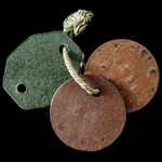 Great War period British Army issue set of three identity discs, two stamped 'J.H. LANGMEAD. C.E'...