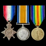 Great War Army Meritorious Service Medal recipient's 1914-1915 trio awarded to Private later Acti...