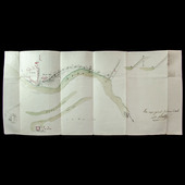 French Napoleonic Conquest of Italy 1796 Hand drawn and coloured map and plan of the River Adda a...