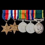 Second World War North West Europe and Territorial long service group awarded to Lieutenant R.R. ...