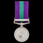 General Service Medal 1918-1962, GVI, 1 Clasp: Palestine awarded to Trooper W. Carmichael, The Gr...