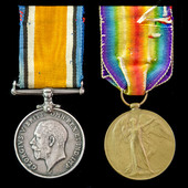 Great War pair awarded to Private N. Shoer, 8th South African Infantry Regiment, who would have s...