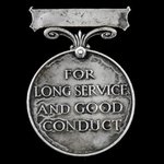 Army Long Service and Good Conduct Medal for India, GVR Crowned head bust, India suspension, the ...