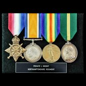 Great War 1914-15 Star trio and Territorial Force Efficiency Medal awarded to Private L. Knight, ...