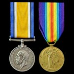 Great War pair awarded to Private P. Vorley, Army Service Corps, who was discharged due to sickne...