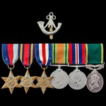 Second World War Burma and North West Europe campaign Territorial long service group awarded to S...