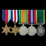 Second World War North West Europe and Territorial long service group awarded to Private R.A. Pau...