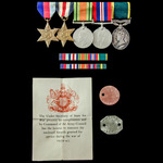 Second World War North West Europe and Territorial long service group awarded to Gunner R.E. Hulm...
