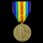 Victory Medal awarded to Private A. McColl, 10th Battalion, Highland Light Infantry who was decla...