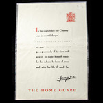 Home Guard Certificate of Service issued to Frank Richard Chandler, who served with the Home Guar...