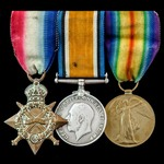 Great War 1914-1915 Trio awarded to Private F.W. Lucas, Wiltshire Regiment, who entered France on...