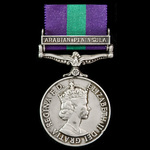 General Service Medal 1918-1962, EIIR bust, 1 Clasp: Arabian Peninsula awarded to Private O.J. Ma...