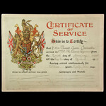 British Army 'Certificate of Service' Illuminated Large Format Card Certificate, issue to Private...