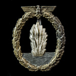 Germany - Third Reich: Kriegsmarine Minesweeper Badge, mid-war example, wide tapered pin, no make...