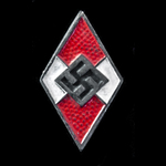 Germany - Third Reich: Hitler Youth HJ Membership Diamond Badge, red and white painted version, '...