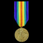 Victory Medal awarded to Private T.W. Atkins, 17th Service Battalion - 1st Footballers, later 13t...