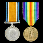 Great War pair awarded to Private E.W. Stevens, Royal Sussex Regiment.