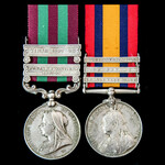 India Punjab Frontier and South Africa Boer War pair awarded to Private R. Pinyoun, Royal Sussex ...