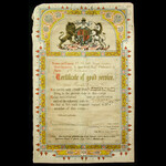 British Army 19th Century Illuminated Volunteer Force Certificate of Good Service, as issued to P...