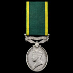 Efficiency Medal, GVI 1st type bust, Territorial suspension, awarded to Sergeant J.C. Cook, Royal...