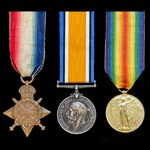 A Great War First Day of the Battle of Loos Casualty trio awarded to Private E. Loton, 8th Servic...