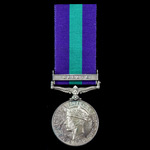 The unique Suez Canal Zone operations Pioneer officer casualty medal awarded to Captain J. Higgin...