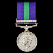 General Service Medal 1918-1962, GVI, 1 Clasp: Palestine, awarded to Private J.A. Cousins, West Y...