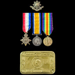 Great War December 1914 Neuve Chapelle Casualty trio awarded to Private W. Storey, 1st Battalion,...