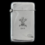 Denbighshire Hussars Yeomanry Silver Presentation Vesta Case, a gift to a soldier with the initia...
