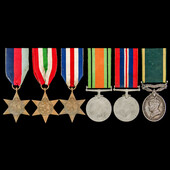 Second World War Italy and North West Europe and Territorial long service group awarded to Gunner...