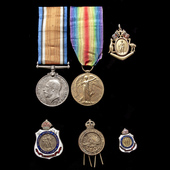 A fine and most complete Great War Western Front pair together with rare Tribute Medal from the t...