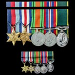 Second World War North West Europe and Territorial long service group awarded to Rifleman J.P. La...