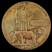Great War Western Front Memorial Plaque named to Luke Mariner, a Private with the Machine Gun Cor...