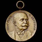 "Germany - Imperial: Public Fundraising Zeppelin 1909 ""Good Luck"" Commemorative Medal, bronze meda..."