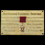 The superb The Most Honourable Military Order of the Bath Companion's Chapel Stall Plate issued t...