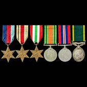 Second World War Middle East and Italy and Territorial long service group awarded to Bombardier A...