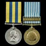 Korea Medal pair awarded to Trooper N.W. Hadfield, 5th Dragoon Guards who saw service in Korea du...