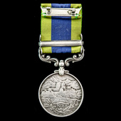India General Service Medal 1908-1935, 1 Clasp: Waziristan 1921-24 awarded to Private J.H. Shanno...