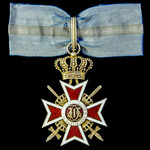 Romania: Order of the Crown with swords, 2nd type 1932-1947, Commander, silver-gilt and in white ...