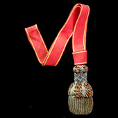 Imperial Russia Order of Saint Anne Sword Knot for Gallantry, silver bullion knot with orange and...