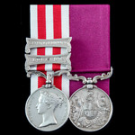The fine Indian Mutiny First Relief Force Defence of Lucknow and long service pair awarded to Pri...