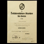 Germany – Third Reich: A scarce German 'Special Forces' example of an award document for the Army...