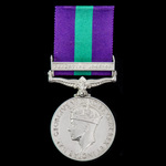 General Service Medal 1918-1962, GVI, 1 Clasp: Palestine 1945-48, awarded to Private T.A. Overton...