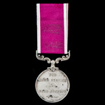 Army Long Service and Good Conduct Medal, GVR Fm. bust, awarded to Private F.V. Von Malachowski, ...