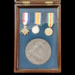 Great War Loos Sector Casualty trio, plaque and scroll group awarded to Private H. Raines, 1st Ba...