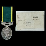 Efficiency Medal, GVI 1st type bust, Territorial suspension, with named card box of issue, awarde...